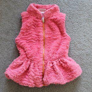 Little Lass Girls 2T Coral Pink Faux Fur Vest Zip